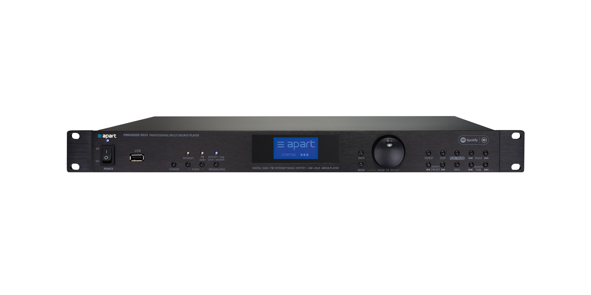 PMR4000RMKIII integrated FM RDS / DAB / DAB+ tuner, internet radio, Spotify Connect, UPnP and USB media player