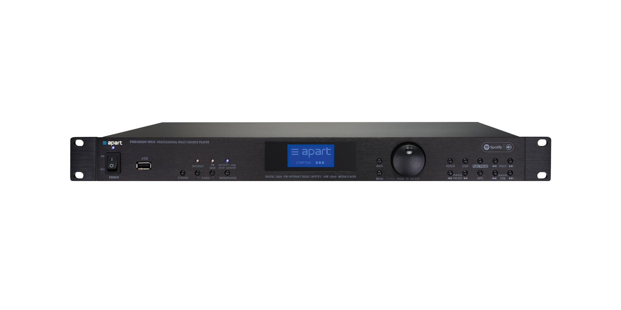 PMR4000RMKIII integrated FM RDS / DAB / DAB+ tuner, internet radio, Spotify Connect, UPnP and USB media player