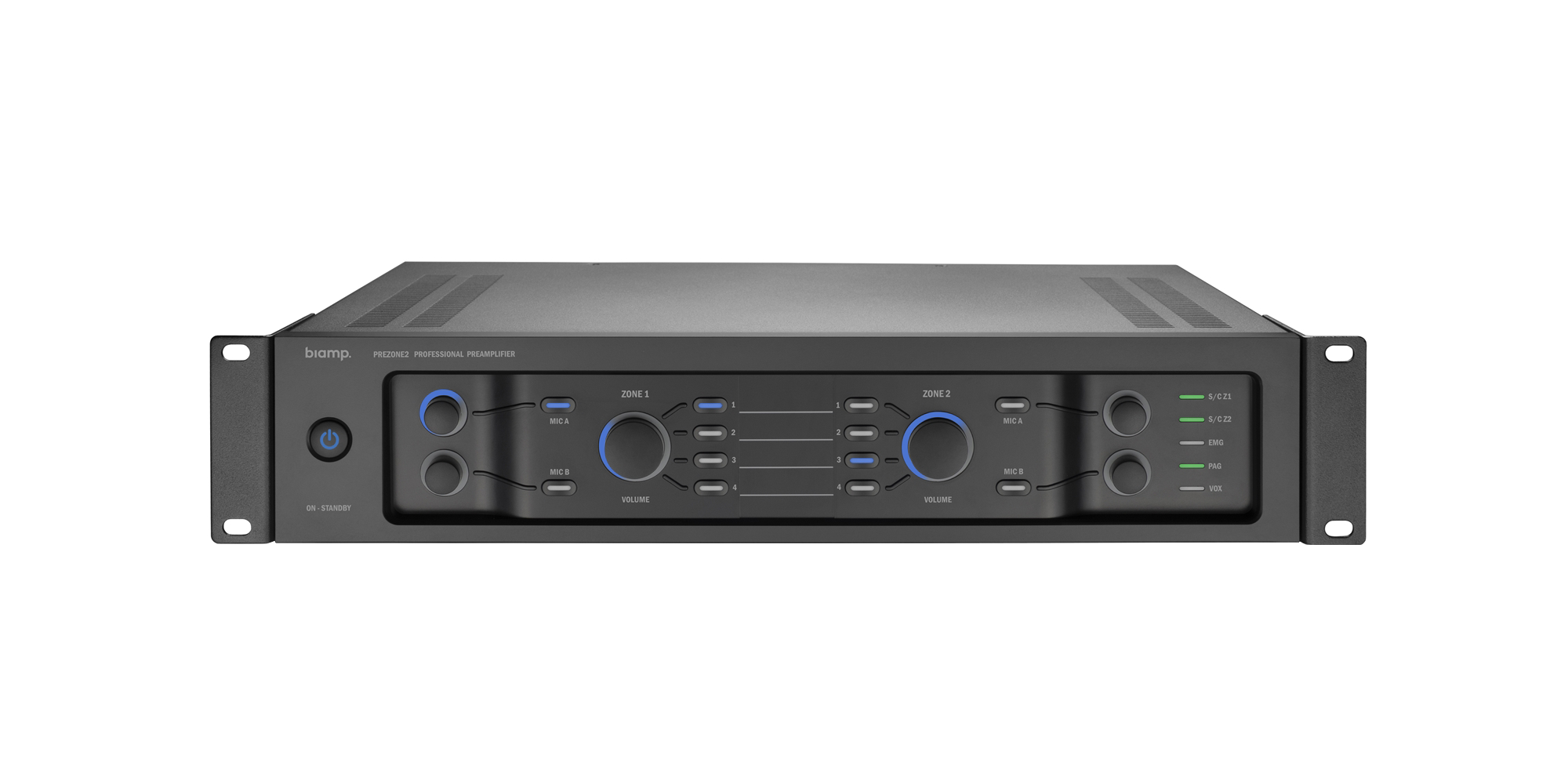 PREZONE2 independently control music source selection & volume in 2 stereo zones & 2 microphones