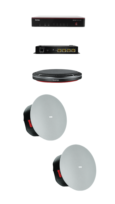 Biamp MRB-M-SCX400-T Medium meeting room bundle with Devio SCX 400 and black table microphone