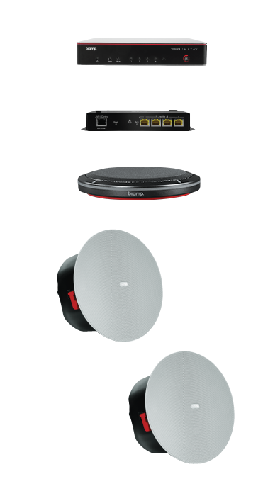 Biamp MRB-M-X400-T Medium meeting room bundle with TesiraFORTÉ X 400 and black table microphone