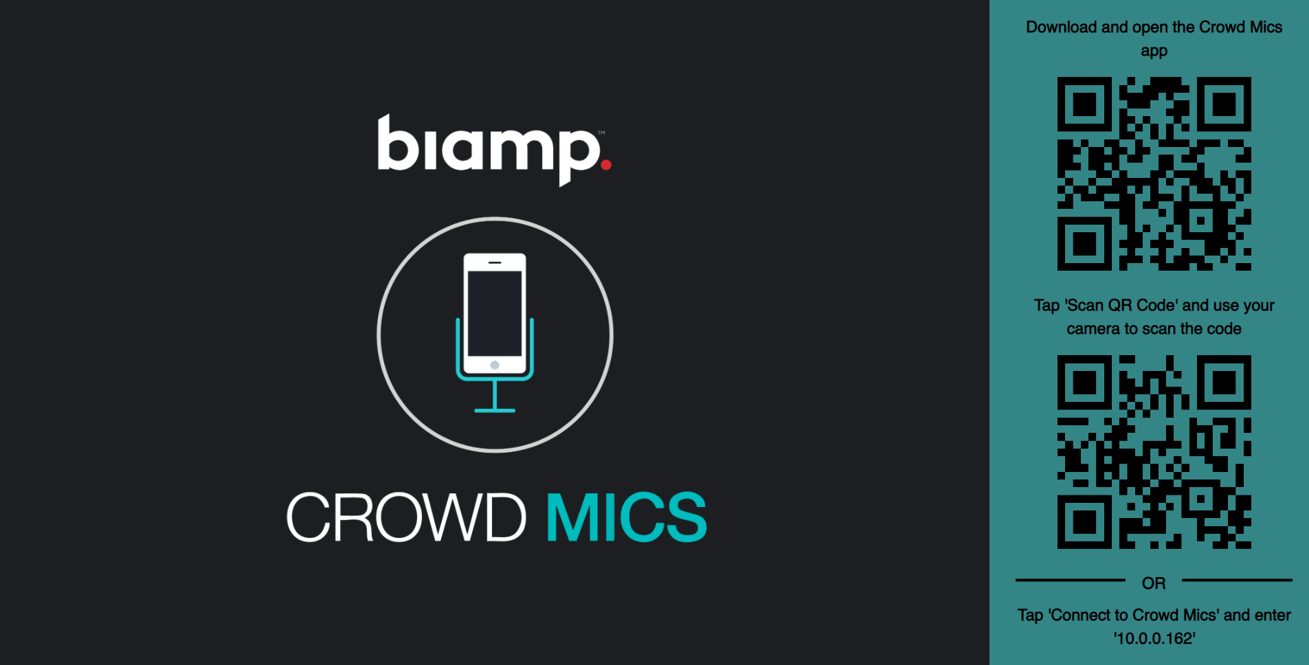 Crowd Mics ATOM display screen with QR codes
