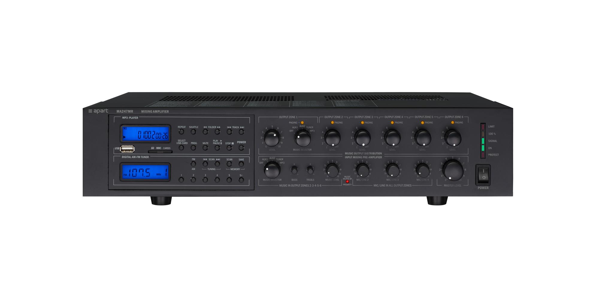 240 watt 6-zone 100volt amplifier system with FM/AM tuner